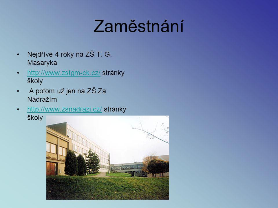 Zaměstnání Nejdříve 4 roky na ZŠ T. G. Masaryka http://www.zstgm-ck.cz/ stránky školyhttp://www.zstgm-ck.cz/ A potom už jen na ZŠ Za Nádražím http://w