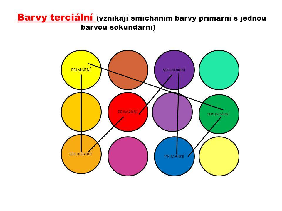 Barvy terciální (vznikají smícháním barvy primární s jednou barvou sekundární) PRIMÁRNÍ SEKUNDÁRNÍ PRIMÁRNÍ SEKUNDÁRNÍ