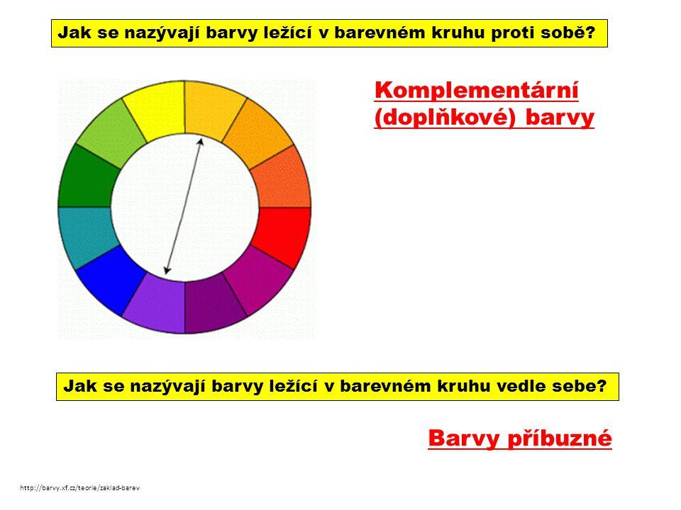 http://barvy.xf.cz/teorie/zaklad-barev Jak se nazývají barvy ležící v barevném kruhu proti sobě? Komplementární (doplňkové) barvy Jak se nazývají barv