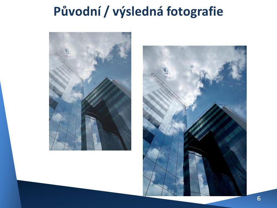 Úprava fotografie firemní budovy Vrstvy – změna barvy oblohy a domu, přibarvení okrajů fotografie, jas a kontrast