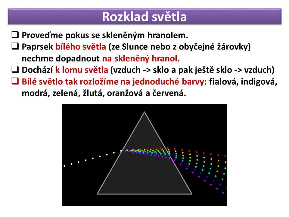 Rozklad světla  Proveďme pokus se skleněným hranolem.