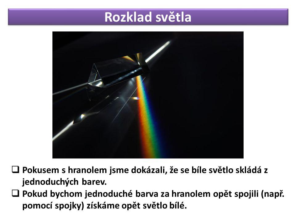 Rozklad světla  Pokusem s hranolem jsme dokázali, že se bíle světlo skládá z jednoduchých barev.  Pokud bychom jednoduché barva za hranolem opět spo