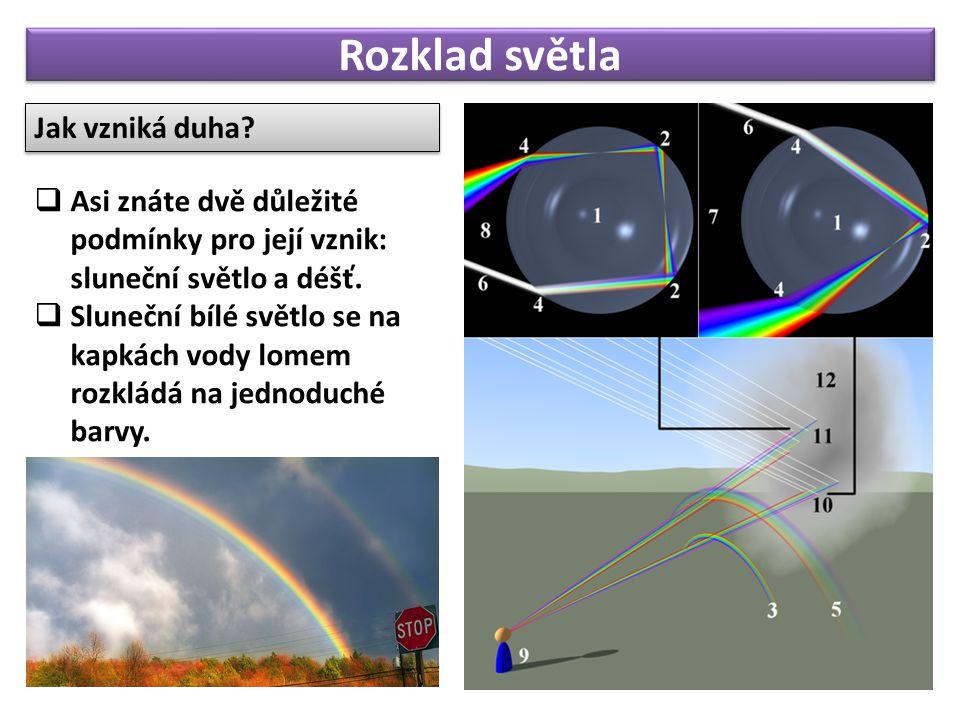 Rozklad světla Jak vzniká duha?  Asi znáte dvě důležité podmínky pro její vznik: sluneční světlo a déšť.  Sluneční bílé světlo se na kapkách vody lo