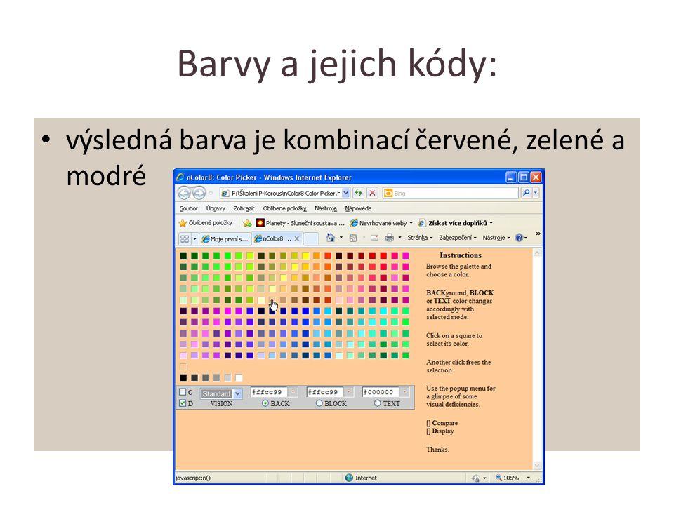Barvy a jejich kódy: výsledná barva je kombinací červené, zelené a modré
