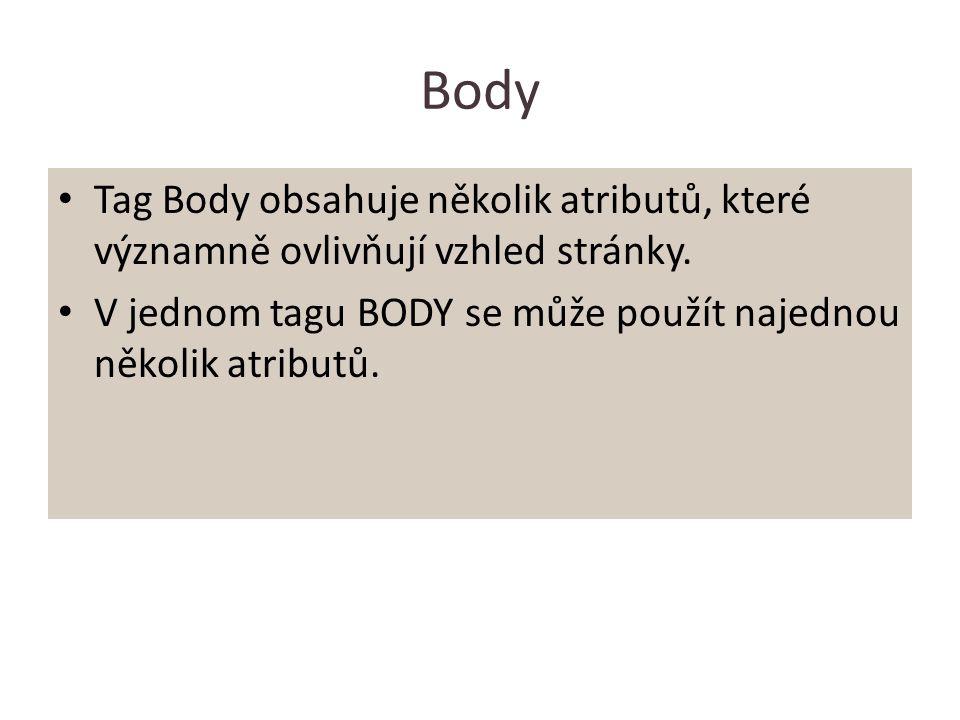 Body Tag Body obsahuje několik atributů, které významně ovlivňují vzhled stránky. V jednom tagu BODY se může použít najednou několik atributů.