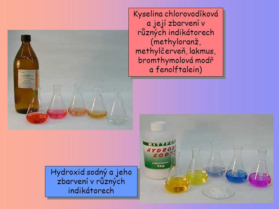 Kyselina chlorovodíková a její zbarvení v různých indikátorech (methyloranž, methylčerveň, lakmus, bromthymolová modř a fenolftalein) Hydroxid sodný a