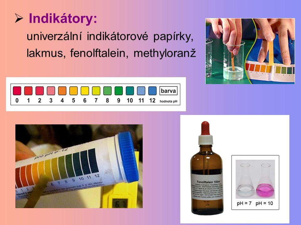  Indikátory: univerzální indikátorové papírky, lakmus, fenolftalein, methyloranž