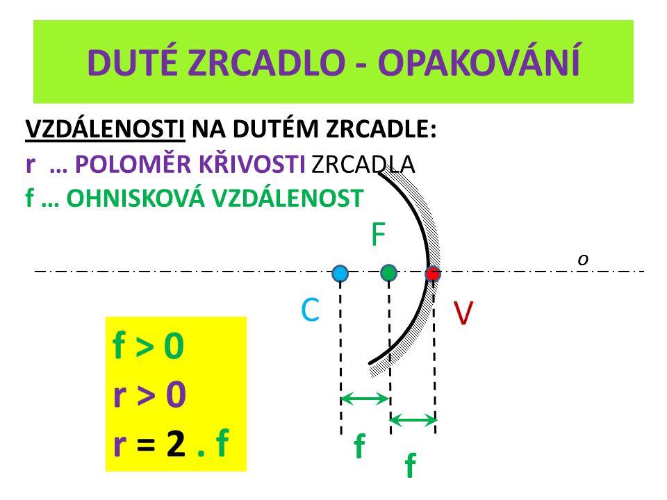 DUTÉ ZRCADLO - OPAKOVÁNÍ V O VZDÁLENOSTI NA DUTÉM ZRCADLE: r … POLOMĚR KŘIVOSTI ZRCADLA f … OHNISKOVÁ VZDÁLENOST C F f f f > 0 r > 0 r = 2. f