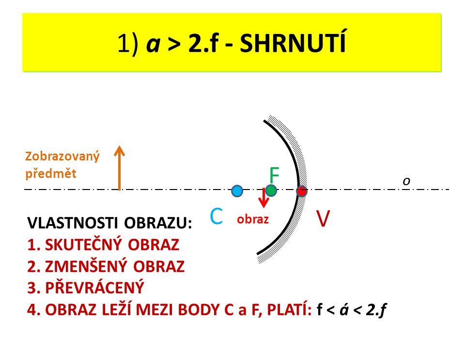 DUTÉ ZRCADLO - OPAKOVÁNÍ V O C F 1) a > 2.f - SHRNUTÍ VLASTNOSTI OBRAZU: 1. SKUTEČNÝ OBRAZ 2. ZMENŠENÝ OBRAZ 3. PŘEVRÁCENÝ 4. OBRAZ LEŽÍ MEZI BODY C a