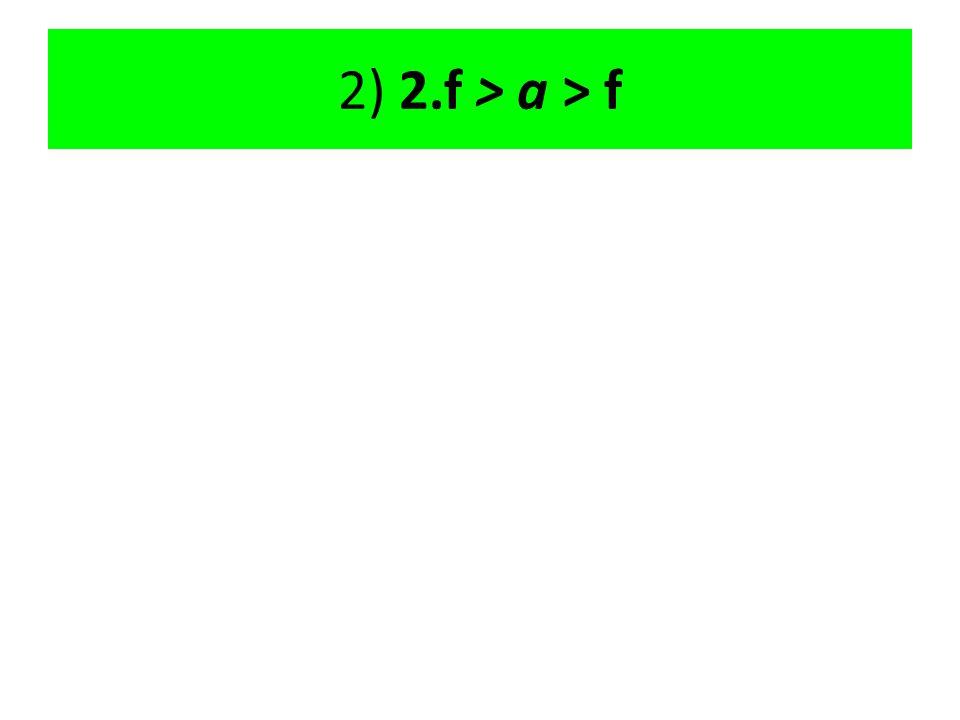 2) 2.f > a > f