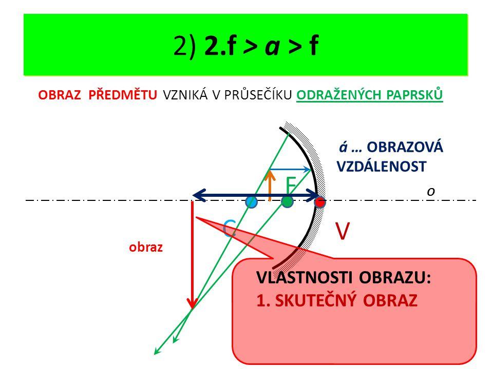 DUTÉ ZRCADLO - OPAKOVÁNÍ V O C F 2) 2.f > a > f OBRAZ PŘEDMĚTU VZNIKÁ V PRŮSEČÍKU ODRAŽENÝCH PAPRSKŮ á … OBRAZOVÁ VZDÁLENOST obraz VLASTNOSTI OBRAZU: