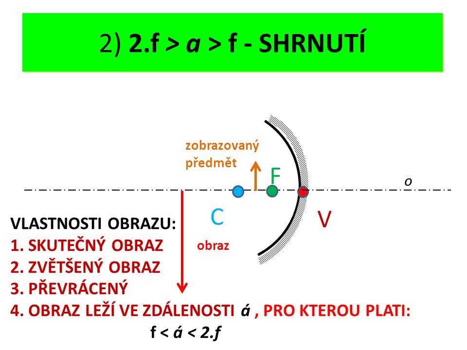 DUTÉ ZRCADLO - OPAKOVÁNÍ V O C F 2) 2.f > a > f - SHRNUTÍ obraz zobrazovaný předmět VLASTNOSTI OBRAZU: 1. SKUTEČNÝ OBRAZ 2. ZVĚTŠENÝ OBRAZ 3. PŘEVRÁCE