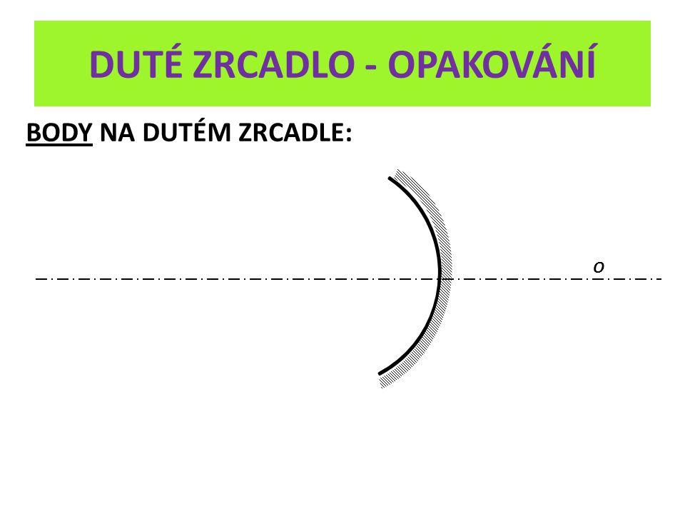 DUTÉ ZRCADLO - OPAKOVÁNÍ V O C F 1) a > 2.f OBRAZ PŘEDMĚTU VZNIKÁ V PRŮSEČÍKU ODRAŽENÝCH PAPRSKŮ VLASTNOSTI OBRAZU: