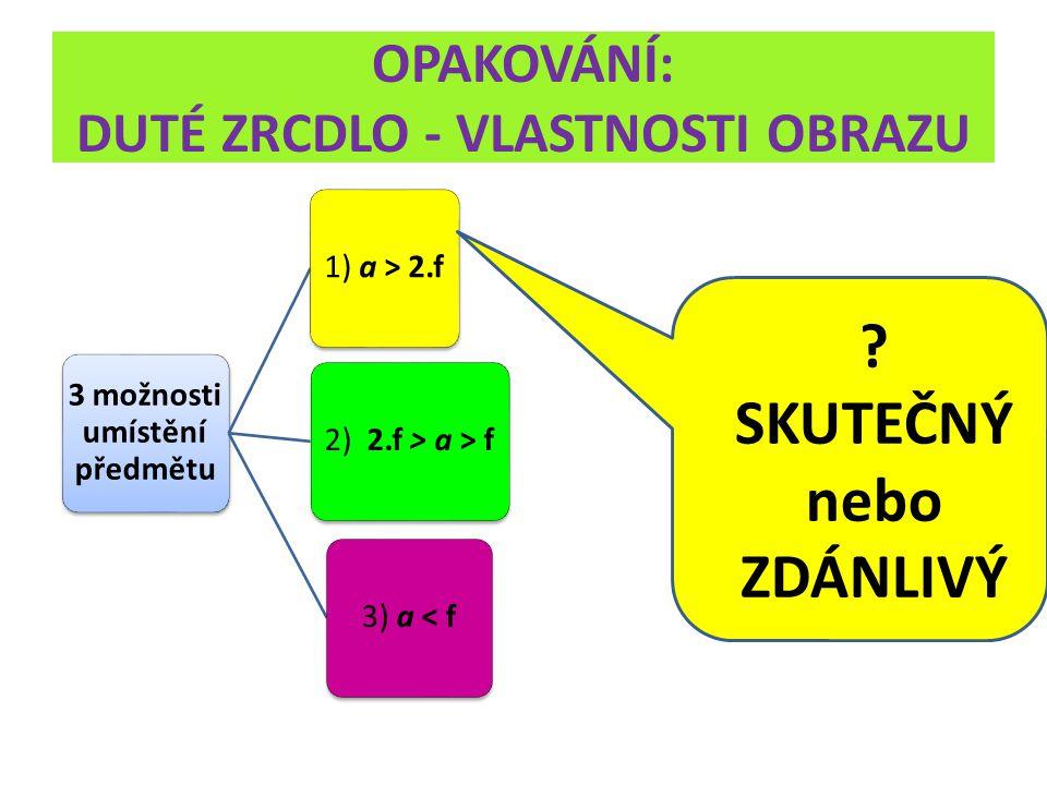 OPAKOVÁNÍ: DUTÉ ZRCDLO - VLASTNOSTI OBRAZU 3 možnosti umístění předmětu 1) a > 2.f 2) 2.f > a > f3) a < f ? SKUTEČNÝ nebo ZDÁNLIVÝ