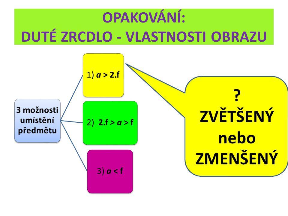OPAKOVÁNÍ: DUTÉ ZRCDLO - VLASTNOSTI OBRAZU 3 možnosti umístění předmětu 1) a > 2.f 2) 2.f > a > f3) a < f ? ZVĚTŠENÝ nebo ZMENŠENÝ