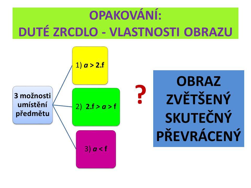 OPAKOVÁNÍ: DUTÉ ZRCDLO - VLASTNOSTI OBRAZU 3 možnosti umístění předmětu 1) a > 2.f 2) 2.f > a > f3) a < f OBRAZ ZVĚTŠENÝ SKUTEČNÝ PŘEVRÁCENÝ
