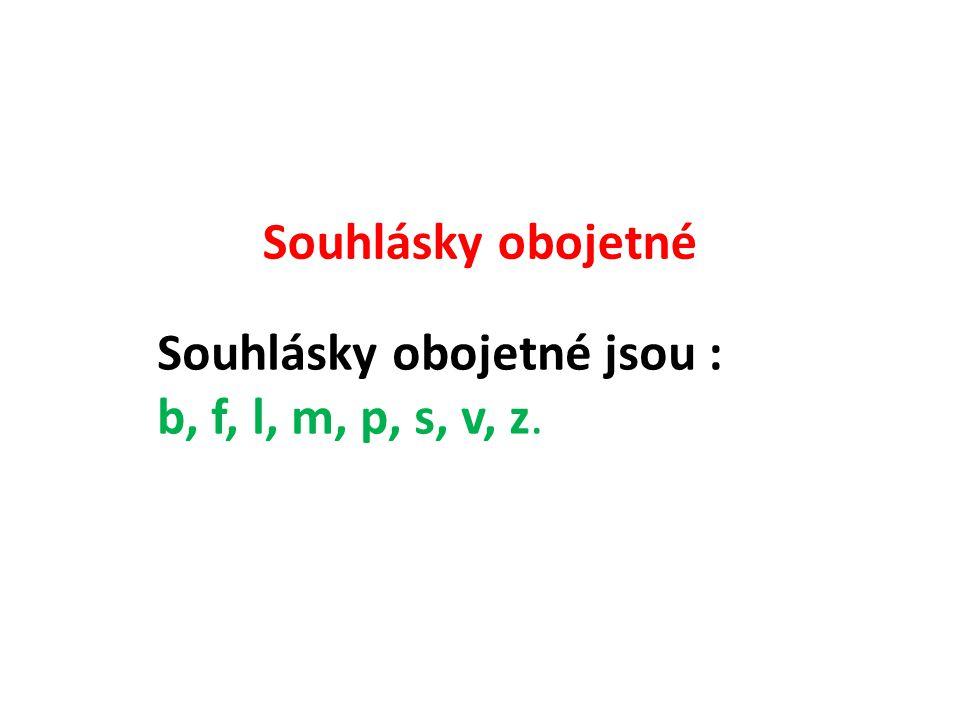 Souhlásky obojetné Souhlásky obojetné jsou : b, f, l, m, p, s, v, z.