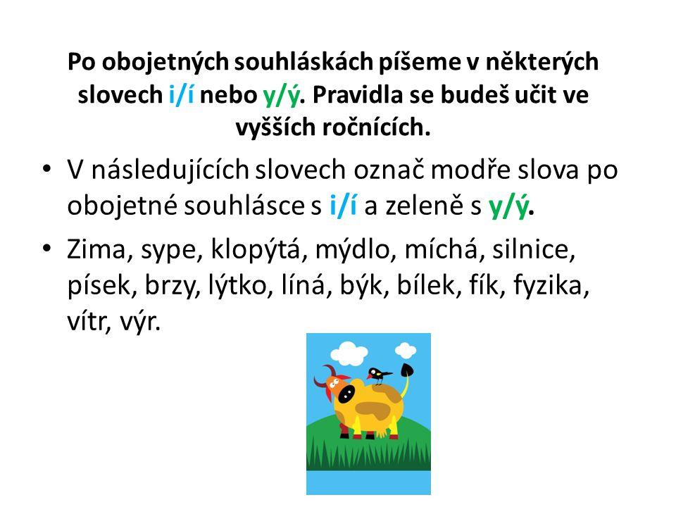 Po obojetných souhláskách píšeme v některých slovech i/í nebo y/ý.