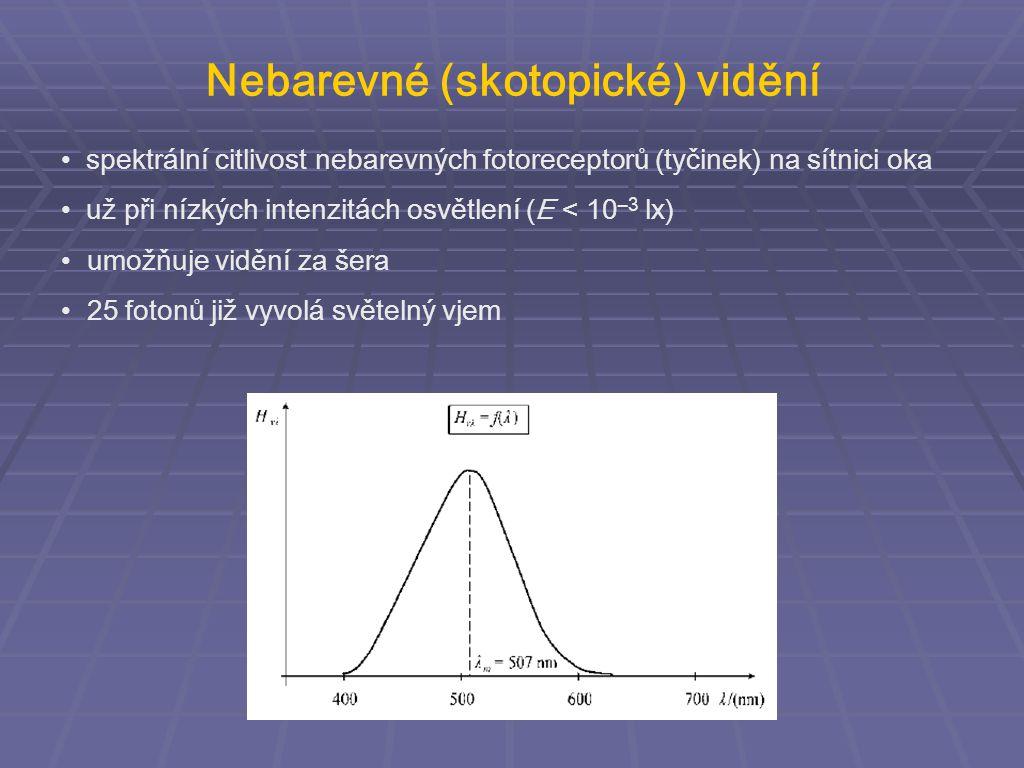 spektrální citlivost nebarevných fotoreceptorů (tyčinek) na sítnici oka už při nízkých intenzitách osvětlení (E < 10 –3 lx) umožňuje vidění za šera 25