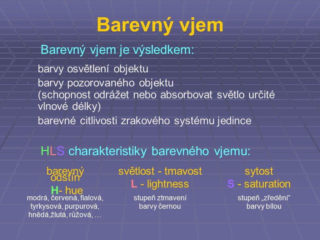Barevný vjem barvy osvětlení objektu barvy pozorovaného objektu (schopnost odrážet nebo absorbovat světlo určité vlnové délky) barevné citlivosti zrak