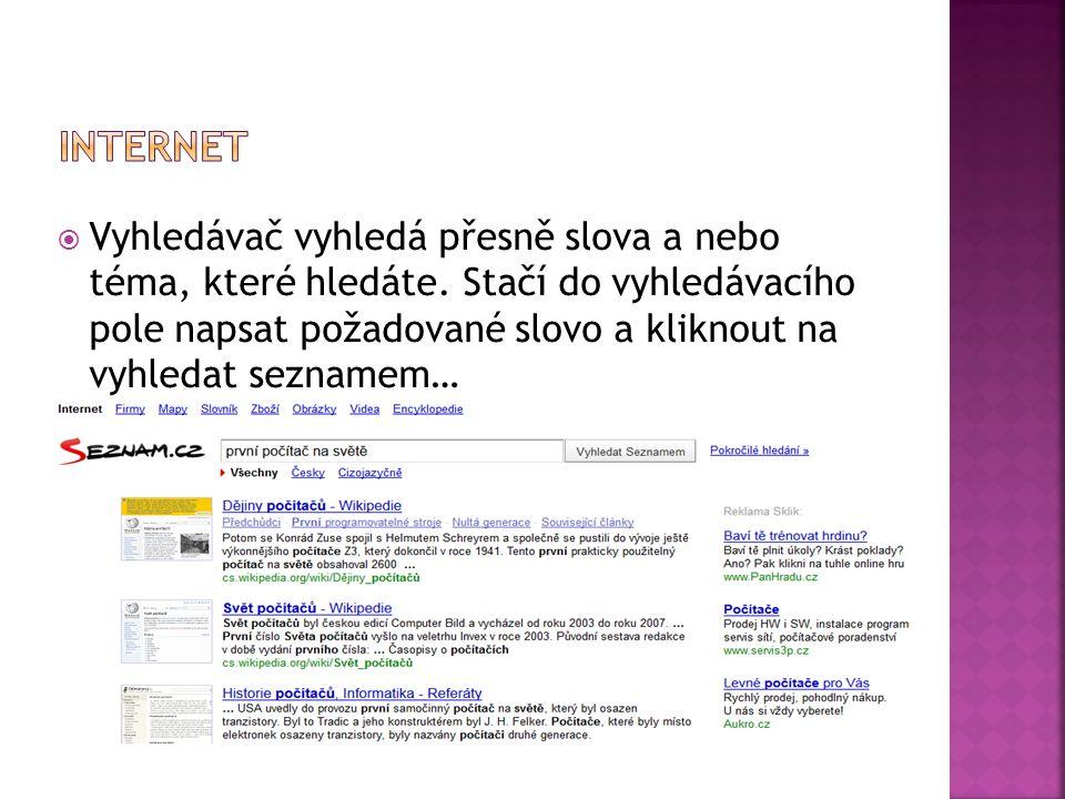  Vyhledávač vyhledá přesně slova a nebo téma, které hledáte.
