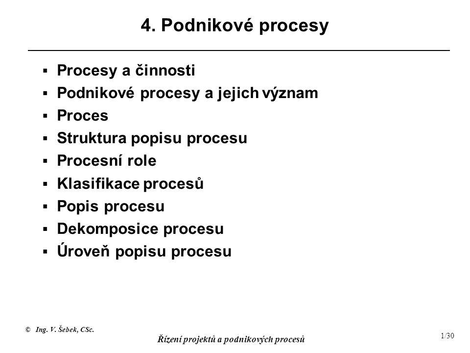 © Ing. V. Šebek, CSc. Řízení projektů a podnikových procesů 1/30 4. Podnikové procesy  Procesy a činnosti  Podnikové procesy a jejich význam  Proce