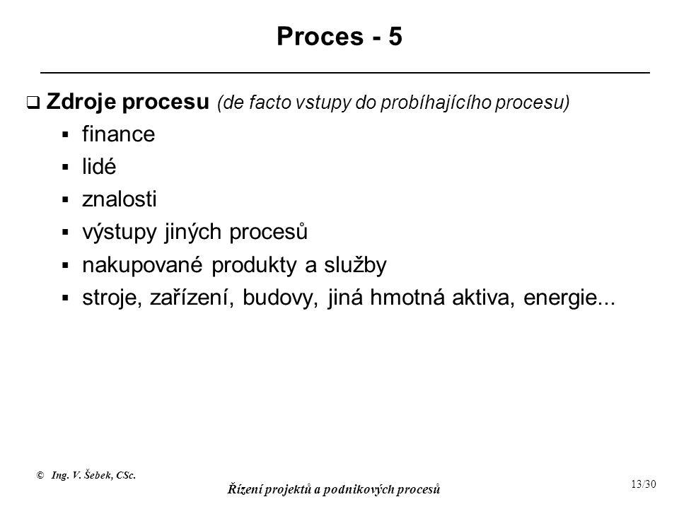 © Ing. V. Šebek, CSc. Řízení projektů a podnikových procesů 13/30 Proces - 5  Zdroje procesu (de facto vstupy do probíhajícího procesu)  finance  l