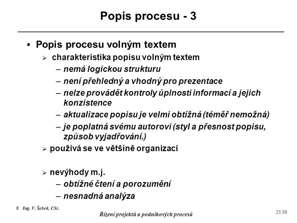 © Ing. V. Šebek, CSc. Řízení projektů a podnikových procesů 25/30 Popis procesu - 3  Popis procesu volným textem  charakteristika popisu volným text
