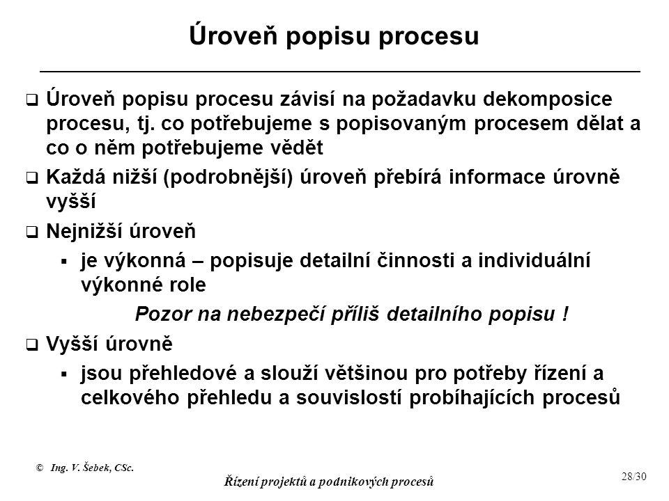 © Ing. V. Šebek, CSc. Řízení projektů a podnikových procesů 28/30 Úroveň popisu procesu  Úroveň popisu procesu závisí na požadavku dekomposice proces