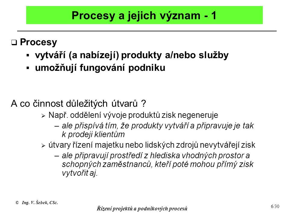 © Ing. V. Šebek, CSc. Řízení projektů a podnikových procesů 6/30 Procesy a jejich význam - 1  Procesy  vytváří (a nabízejí) produkty a/nebo služby 