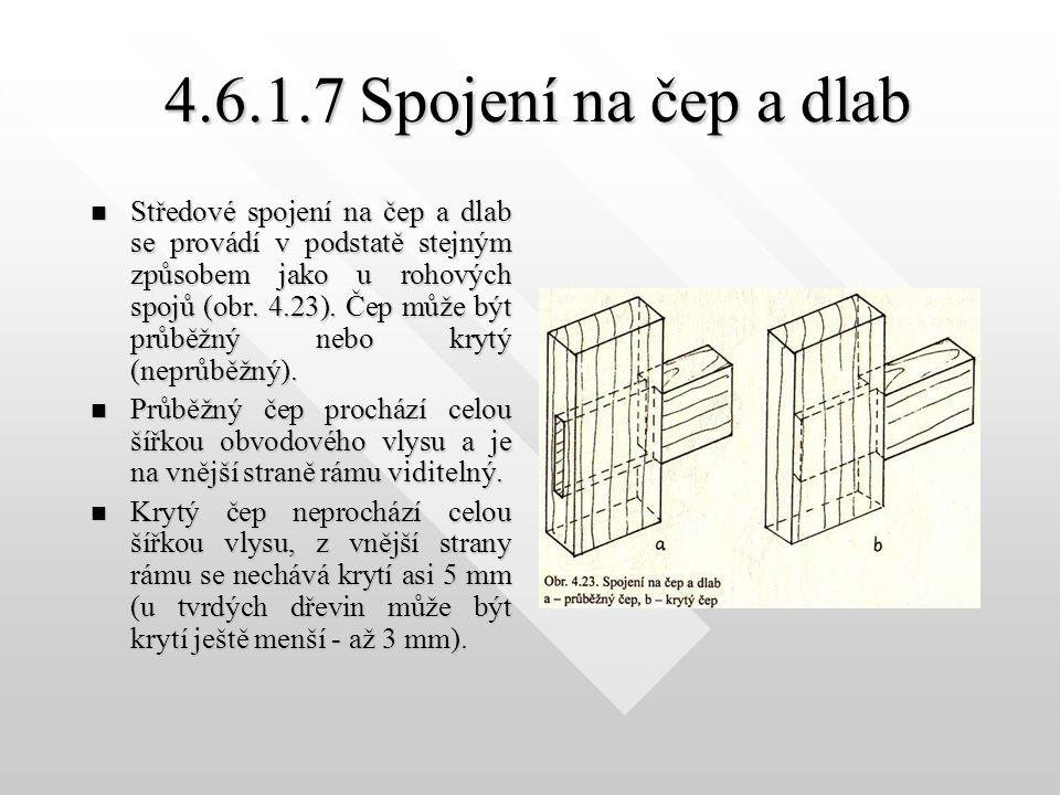 4.6.1.6 Spojení vlysů na pokos Tento způsob spojování rámů se používá tam, kde z estetických důvodů nemá být na bočních stranách rámu viditelná část čelního dřeva.