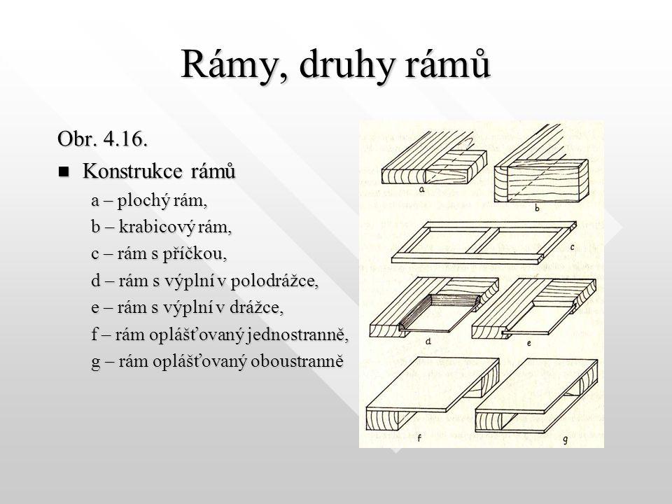 Rámy, druhy rámů Rámy jsou obvykle nosnými konstrukčními prvky, proto se nesmějí deformovat. Z toho důvodu je potřebné používat pro výrobu rámů středo
