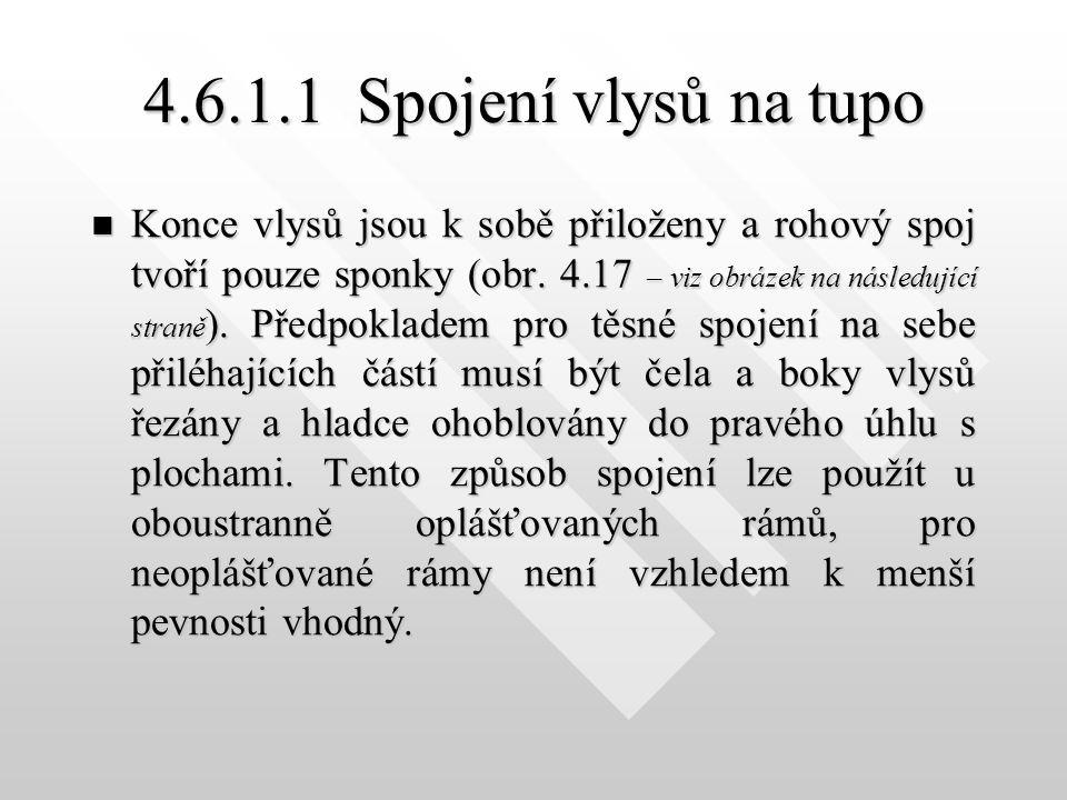 4.6.1.1Spojení vlysů na tupo Konce vlysů jsou k sobě přiloženy a rohový spoj tvoří pouze sponky (obr.