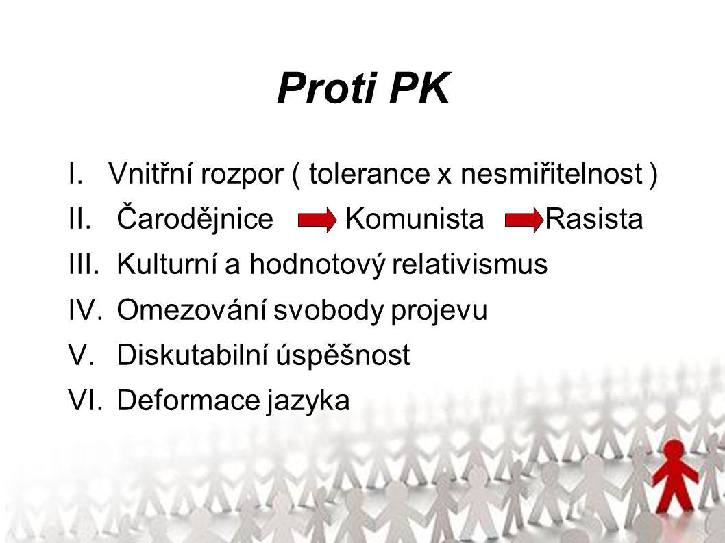 Proti PK I.Vnitřní rozpor ( tolerance x nesmiřitelnost ) II.