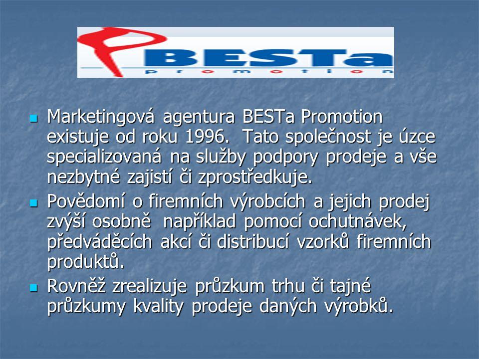 Marketingová agentura BESTa Promotion existuje od roku 1996.