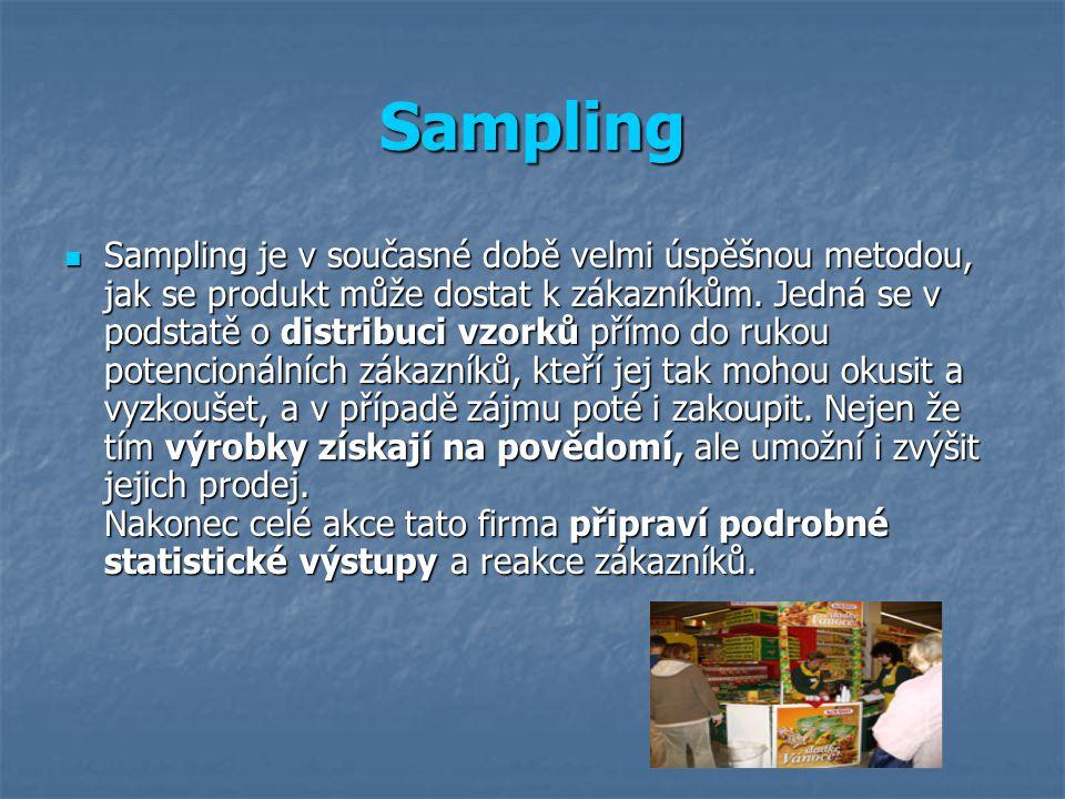 Sampling Sampling je v současné době velmi úspěšnou metodou, jak se produkt může dostat k zákazníkům.