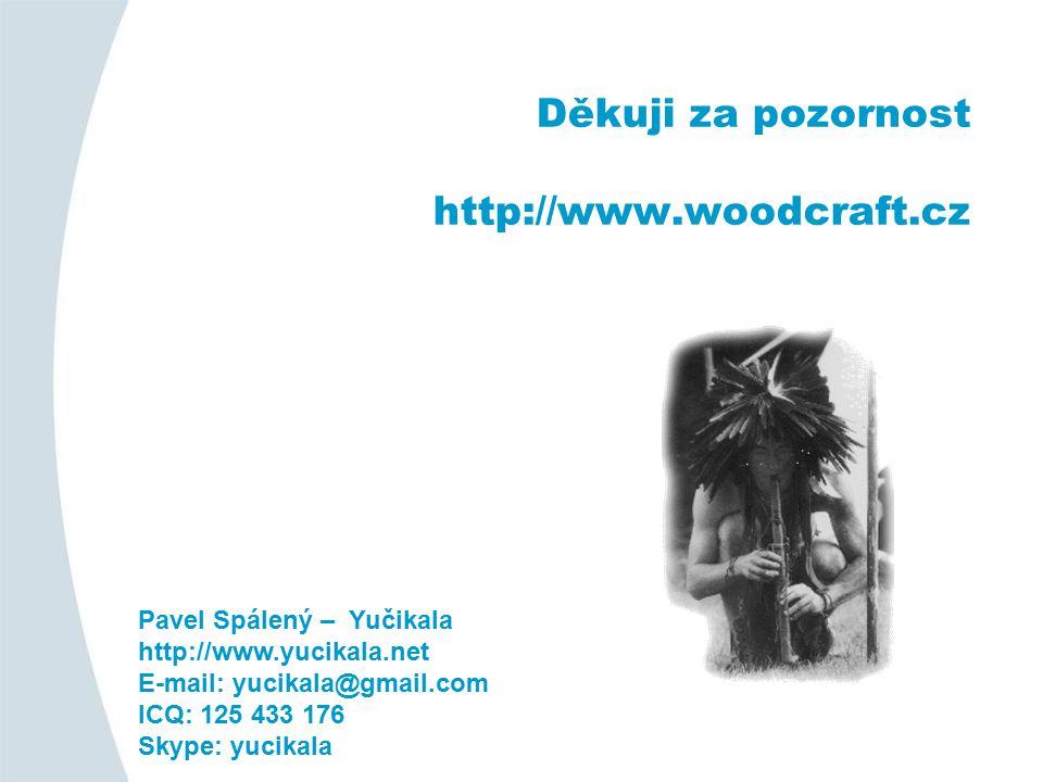 Děkuji za pozornost http://www.woodcraft.cz Pavel Spálený – Yučikala http://www.yucikala.net E-mail: yucikala@gmail.com ICQ: 125 433 176 Skype: yucikala