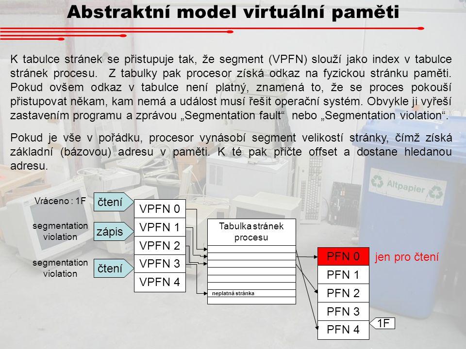 Abstraktní model virtuální paměti K tabulce stránek se přistupuje tak, že segment (VPFN) slouží jako index v tabulce stránek procesu. Z tabulky pak pr