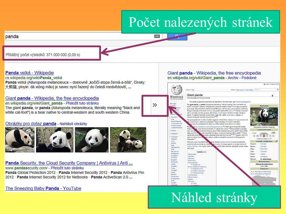 Adresa webové stránky Popis toho, co na vyhledané stránce najdeme