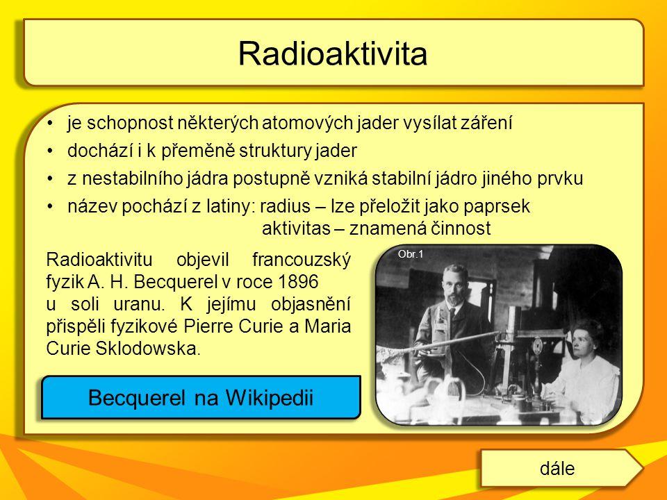 je schopnost některých atomových jader vysílat záření dochází i k přeměně struktury jader z nestabilního jádra postupně vzniká stabilní jádro jiného p
