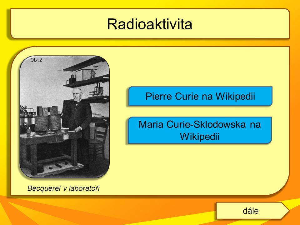 Becquerel v laboratoři Radioaktivita dále Pierre Curie na Wikipedii Maria Curie-Sklodowska na Wikipedii Obr.2