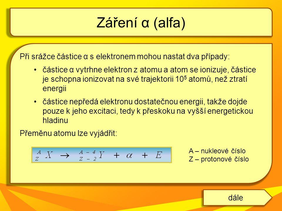 Při srážce částice α s elektronem mohou nastat dva případy: částice α vytrhne elektron z atomu a atom se ionizuje, částice je schopna ionizovat na své