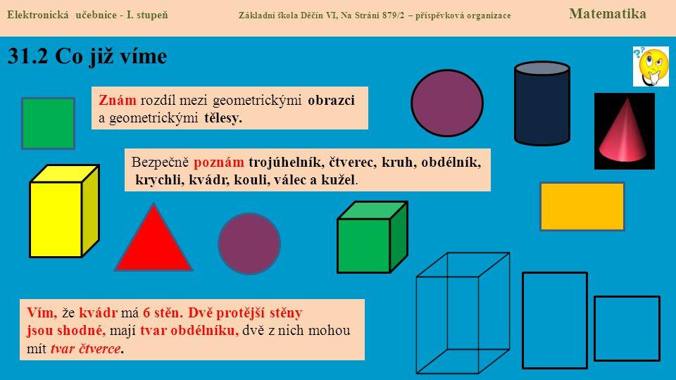 31.2 Co již víme Elektronická učebnice - I. stupeň Základní škola Děčín VI, Na Stráni 879/2 – příspěvková organizace Matematika Znám rozdíl mezi geome