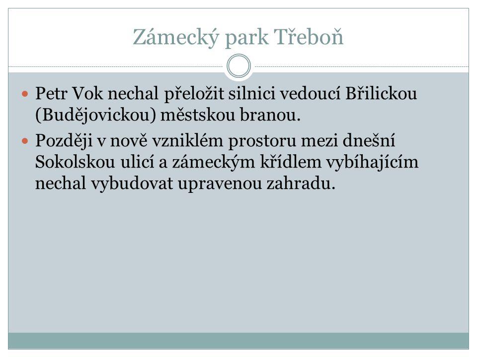 Zámecký park Třeboň Petr Vok nechal přeložit silnici vedoucí Břilickou (Budějovickou) městskou branou. Později v nově vzniklém prostoru mezi dnešní So