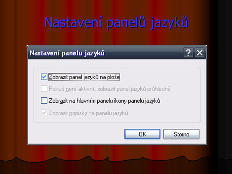 Nastavení panelů jazyků