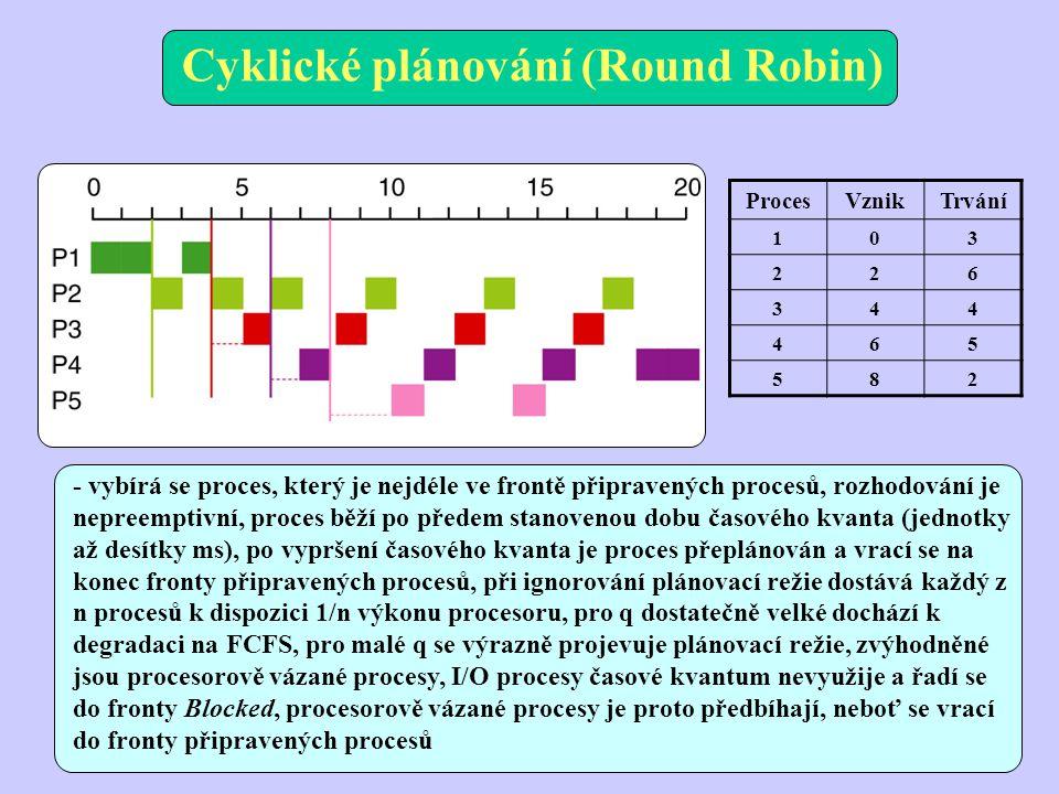 Cyklické plánování (Round Robin) ProcesVznikTrvání 103 226 344 465 582 - vybírá se proces, který je nejdéle ve frontě připravených procesů, rozhodování je nepreemptivní, proces běží po předem stanovenou dobu časového kvanta (jednotky až desítky ms), po vypršení časového kvanta je proces přeplánován a vrací se na konec fronty připravených procesů, při ignorování plánovací režie dostává každý z n procesů k dispozici 1/n výkonu procesoru, pro q dostatečně velké dochází k degradaci na FCFS, pro malé q se výrazně projevuje plánovací režie, zvýhodněné jsou procesorově vázané procesy, I/O procesy časové kvantum nevyužije a řadí se do fronty Blocked, procesorově vázané procesy je proto předbíhají, neboť se vrací do fronty připravených procesů