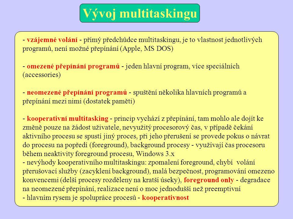 - vzájemné volání - přímý předchůdce multitaskingu, je to vlastnost jednotlivých programů, není možné přepínání (Apple, MS DOS) - omezené přepínání programů - jeden hlavní program, více speciálních (accessories) - neomezené přepínání programů - spuštění několika hlavních programů a přepínání mezi nimi (dostatek paměti) - kooperativní multitasking - princip vychází z přepínání, tam mohlo ale dojít ke změně pouze na žádost uživatele, nevyužitý procesorový čas, v případě čekání aktivního procesu se spustí jiný proces, při jeho přerušení se provede pokus o návrat do procesu na popředí (foreground), background procesy - využívají čas procesoru během neaktivity foreground procesu, Windows 3.x - nevýhody kooperativního multitaskingu: zpomalení foreground, chybí volání přerušovací služby (zacyklení background), malá bezpečnost, programování omezeno konvencemi (delší procesy rozděleny na kratší úseky), foreground only - degradace na neomezené přepínání, realizace není o moc jednodušší než preemptivní - hlavním rysem je spolupráce procesů - kooperativnost Vývoj multitaskingu