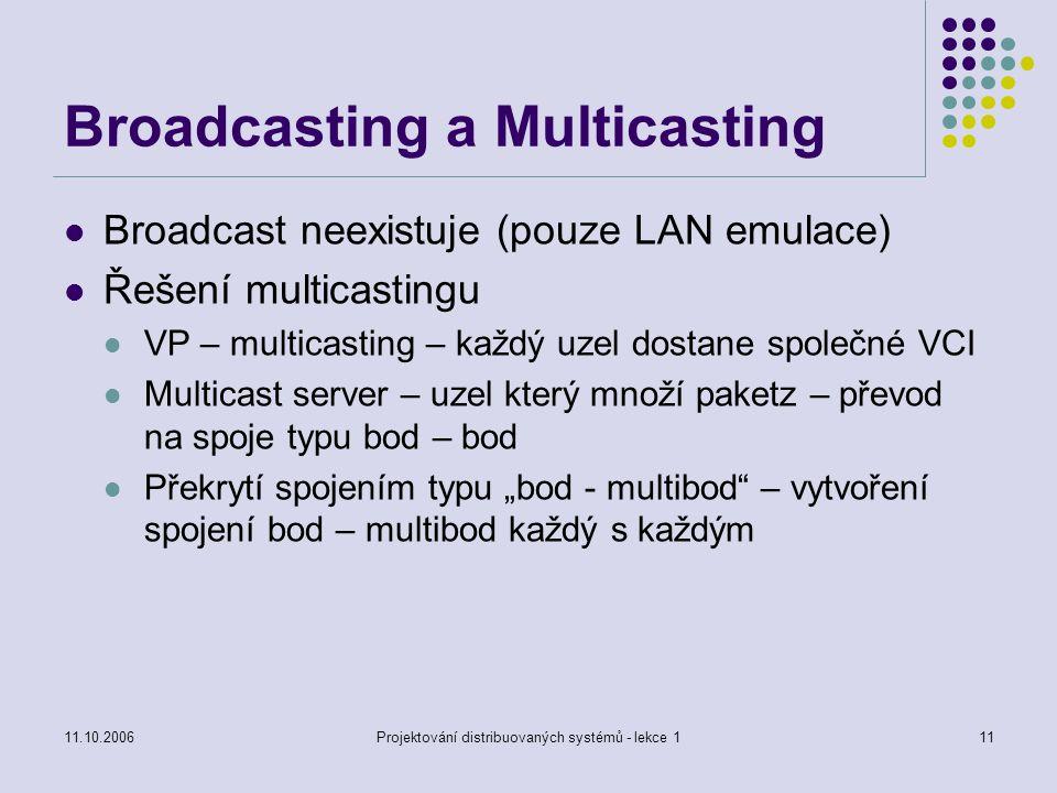 """11.10.2006Projektování distribuovaných systémů - lekce 111 Broadcasting a Multicasting Broadcast neexistuje (pouze LAN emulace) Řešení multicastingu VP – multicasting – každý uzel dostane společné VCI Multicast server – uzel který množí paketz – převod na spoje typu bod – bod Překrytí spojením typu """"bod - multibod – vytvoření spojení bod – multibod každý s každým"""