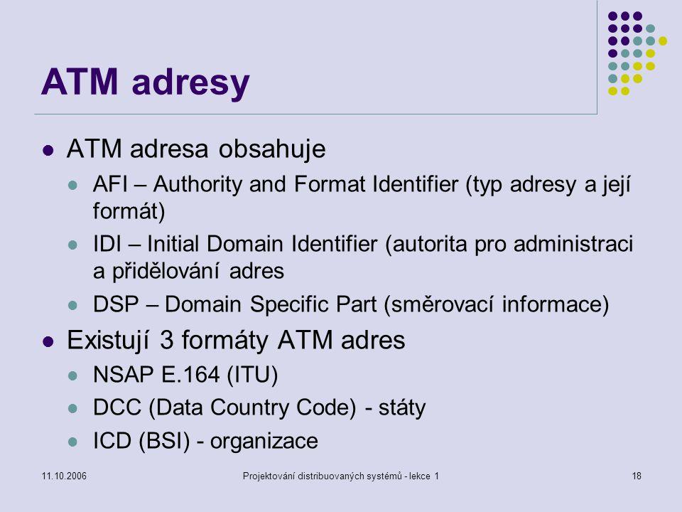 11.10.2006Projektování distribuovaných systémů - lekce 118 ATM adresy ATM adresa obsahuje AFI – Authority and Format Identifier (typ adresy a její formát) IDI – Initial Domain Identifier (autorita pro administraci a přidělování adres DSP – Domain Specific Part (směrovací informace) Existují 3 formáty ATM adres NSAP E.164 (ITU) DCC (Data Country Code) - státy ICD (BSI) - organizace
