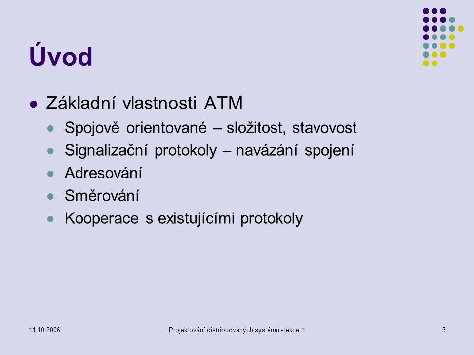 11.10.2006Projektování distribuovaných systémů - lekce 13 Úvod Základní vlastnosti ATM Spojově orientované – složitost, stavovost Signalizační protokoly – navázání spojení Adresování Směrování Kooperace s existujícími protokoly